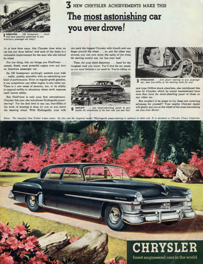 Image for Most astonishing car you ever drove! Chrysler New Yorker 4-door sedan ad 1951 Cl