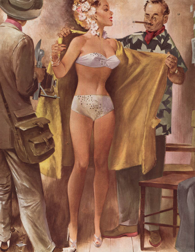Fritz Willis pin-up showgirl magazine illustration page Collier's 2/3 1951