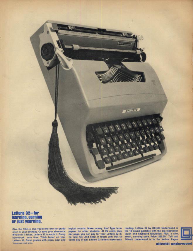 For learning earning yearning: Olivetti Underwood Lettera 32 typewriter ad 1966