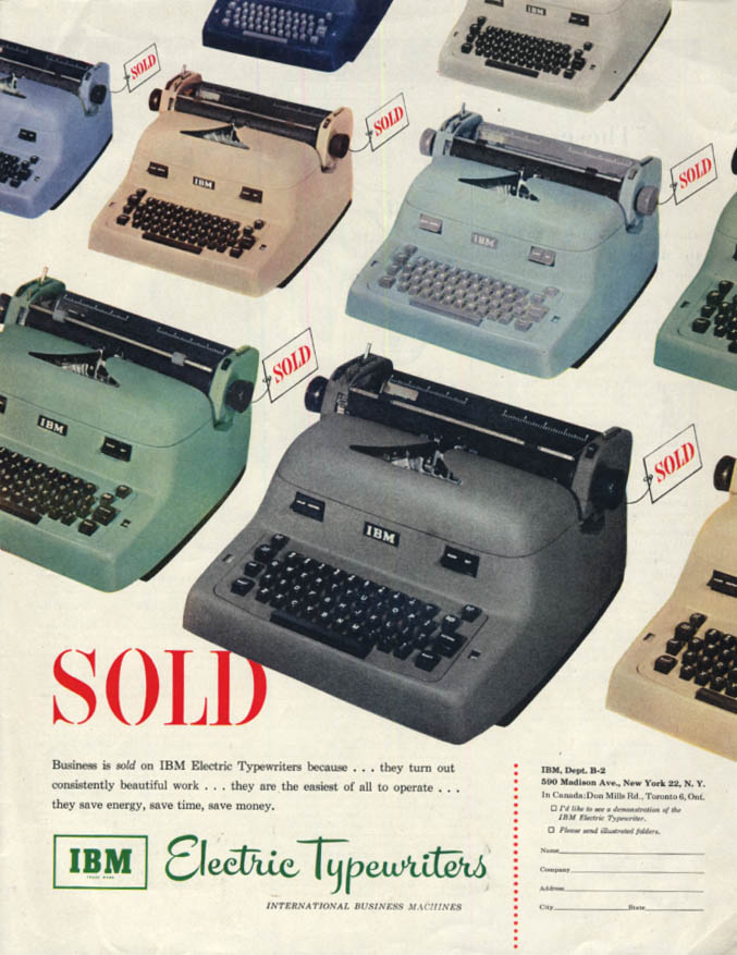 Business is SOLD on IBM Electric Typewriters ad 1952 SEP