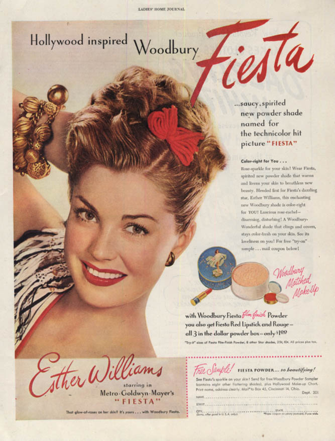 Esther Williams for Woodbury Fiesta Make-up ad 1947 LHJ