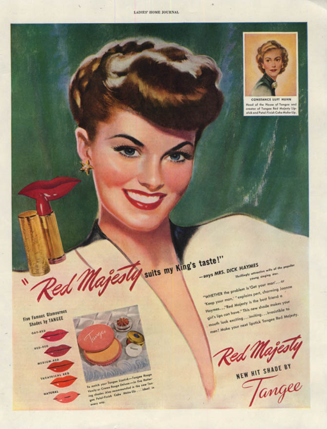 Image for Mrs Dick Haymes for Tangee Red Majesty Lipstick ad 1947 LHJ