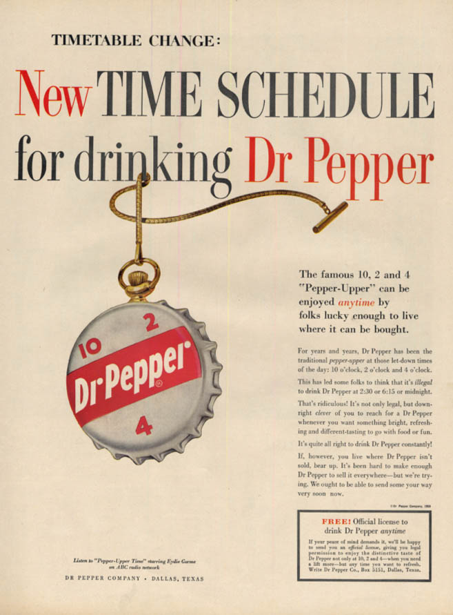 Image for New Time Schedule for drinking Dr Pepper ad 1959 L