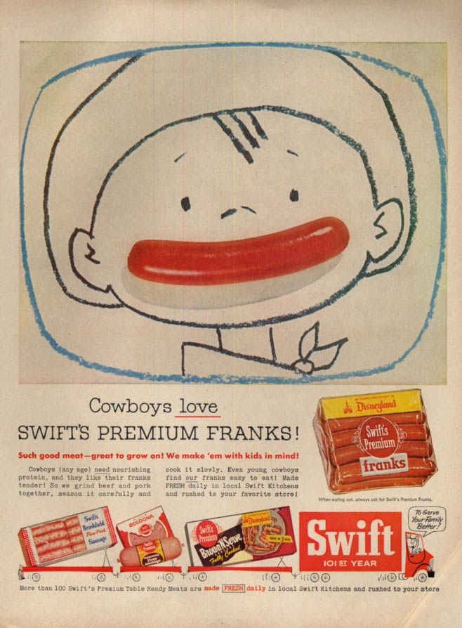 Image for Cowboys love Swift's Premium Franks hot dog ad 1956 L