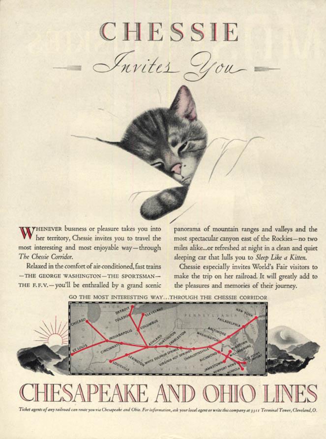 Image for Chessie invites You - Chesapeake & Ohio Railroad ad 1939 L