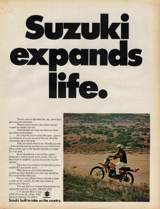 Image for Suzuki expands life: Suzuki Motorcycle ad 1972 L
