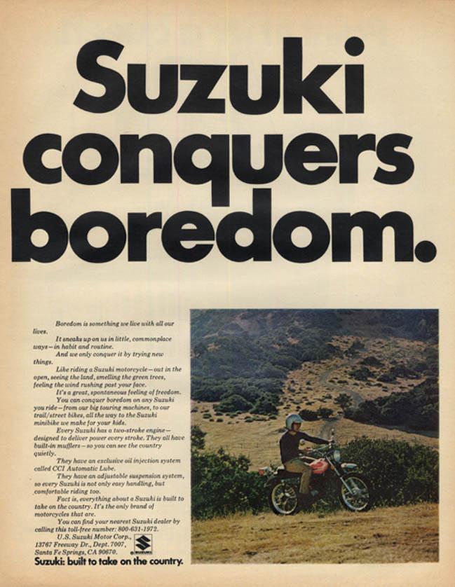 Image for Suzuki conquers boredom Suzuki Motorcycle ad 1972 L