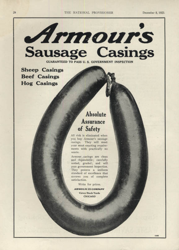Image for Armour's Sheep Beef Hog Sausage Casings Absolute Assurance of Safety ad 1923