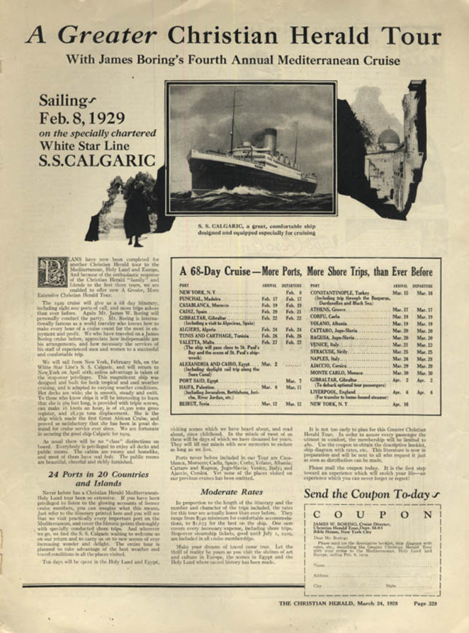 Image for A Greater Christian Herald 1929 Tour on White Star Line S S Calgaric ad 1928