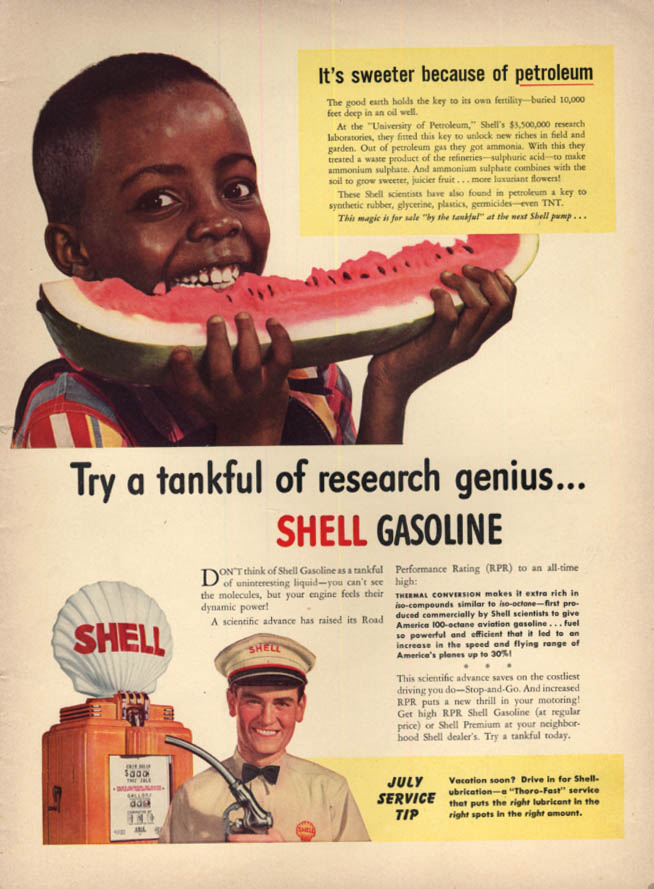 Black boy eats Watermelon Sweeter because of Shell Petroleum ad 1941 L