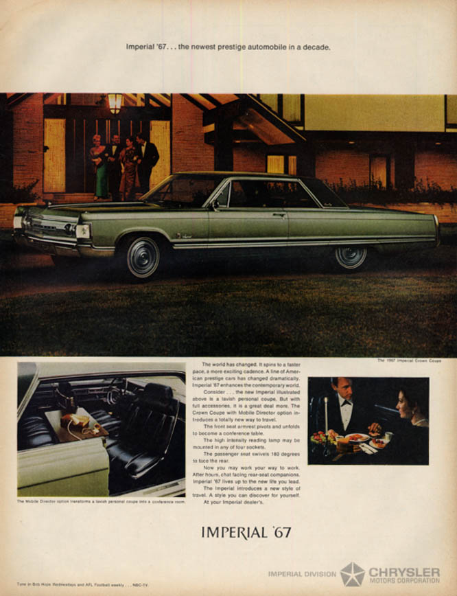 Image for Newest prestige automobile in a decade Imperial Crown Coupe by Chrysler ad 1967