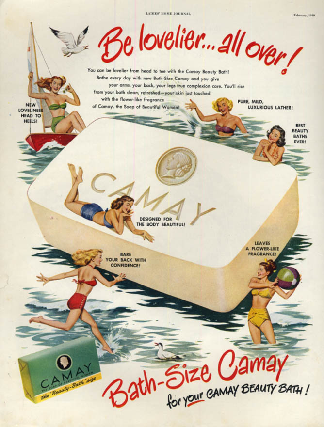 Image for Be lovelier - all over! Camay Soap girls in 2-piece swimsuits ad 1949 LHJ