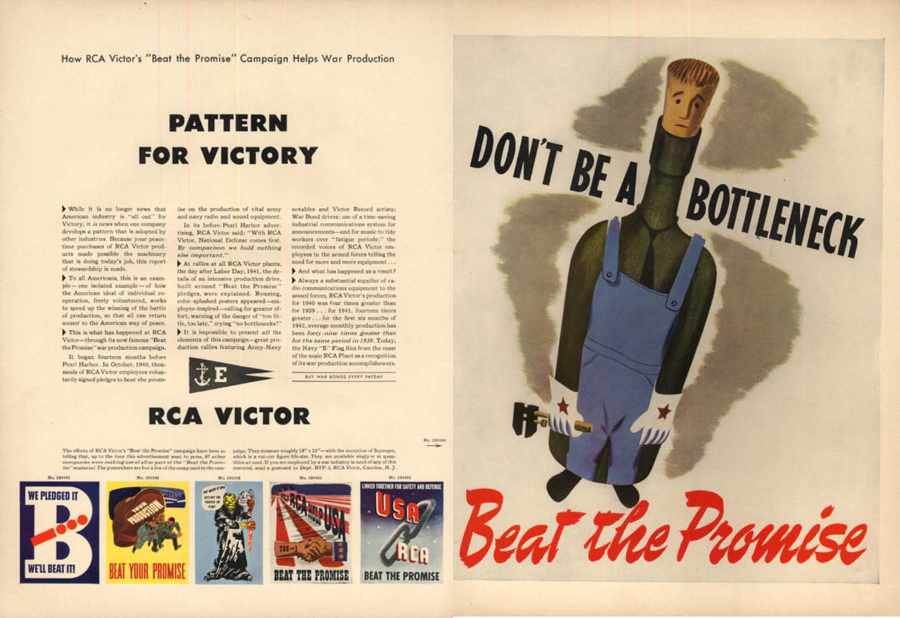 RCA Victor Beat the Promise Patriotic Posters Pattern for Victory ad 1942 L