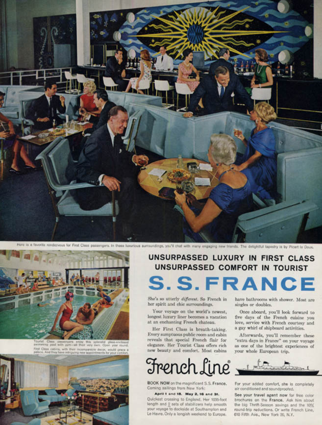 Image for Unsurpassed Luxury & Comfort French Line S S France ad 1963 H