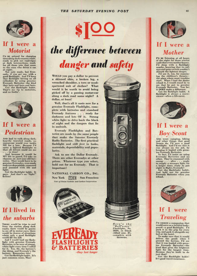 Image for The difference between danger & safety Eveready Bull's-eye Flashlight ad 1928