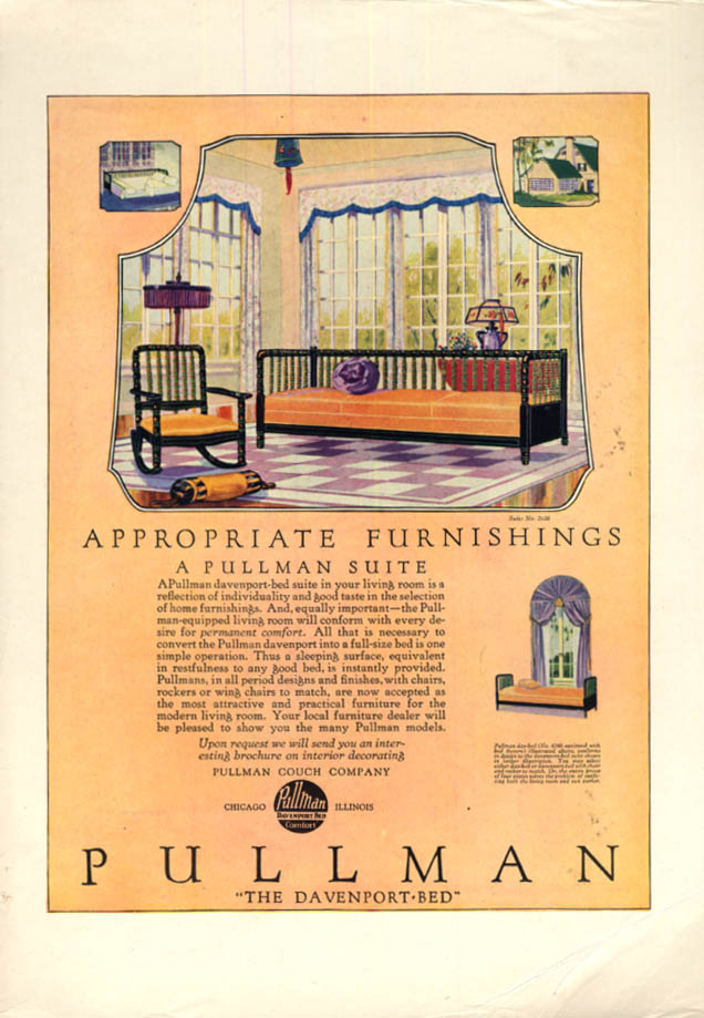 Image for Appropriate Furnishings The Pullman Davenport Bed ad ca 1920