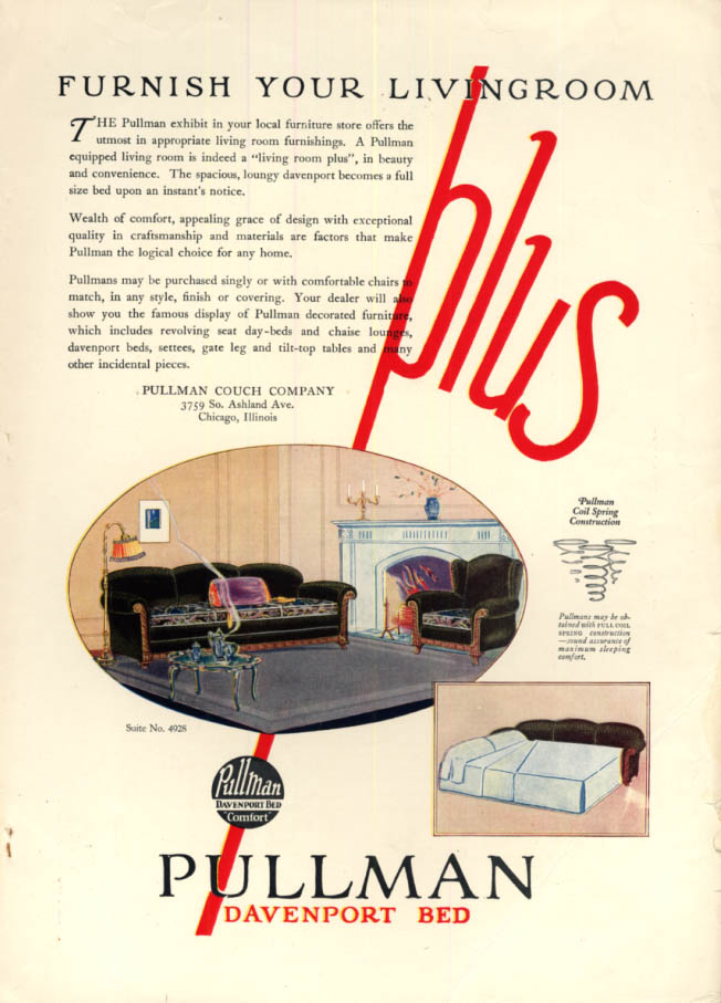 Image for Furnish your living room Plus: Pullman Davenport Bed ad 1925