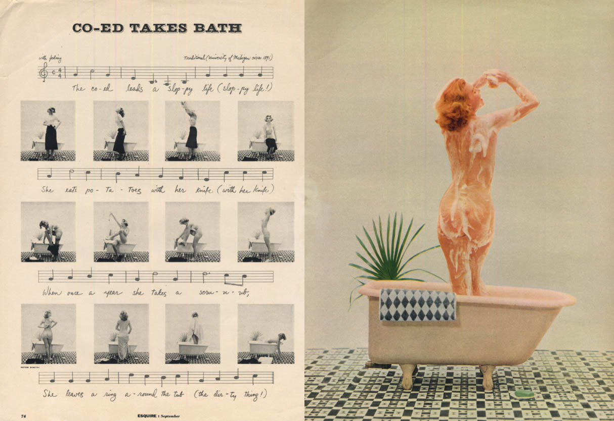 Image for Co-Ed Takes a Bath U Michigan song photo illustrated Esquire spread 1950s
