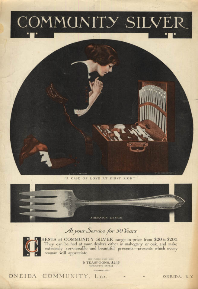 A Case of Love at First Sight Oneida Community Silver ad 1913 Coles Phillips