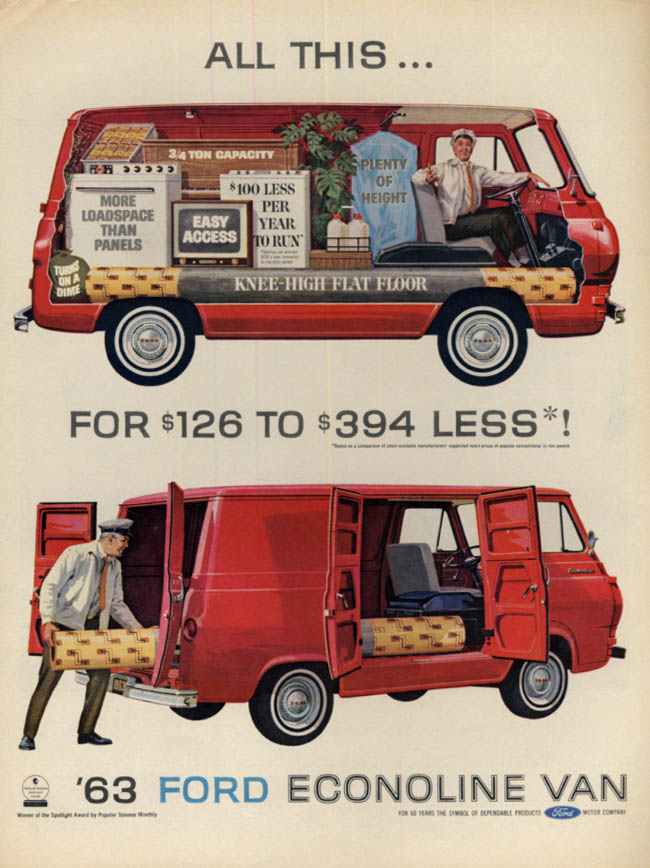 All This for $126 to $394 less! Ford Econoline Van ad 1963