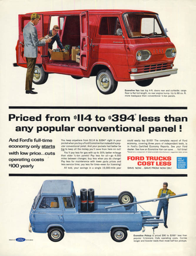 $114 to $394 less than any conventional panel Ford Econoline ad 1962