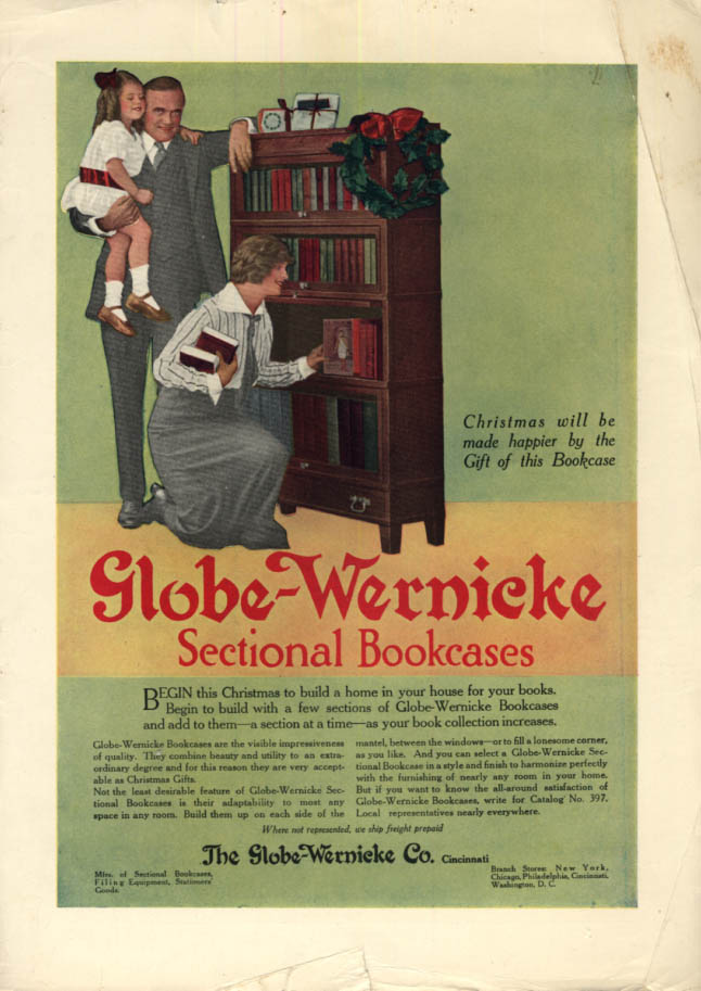 Image for Christmas made happier with Globe-Wericke Sectional Bookcases ad ca 1910