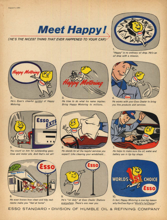 Image for Meet Happy! Esso Gasoline Oil Drop cartoon character ad 1960 SEP