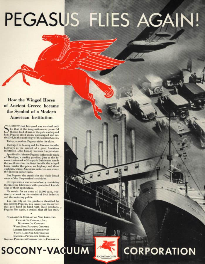 Image for Pegasus Flies Again! The Winged Horse symbol of Socony-Vacuum ad 1934