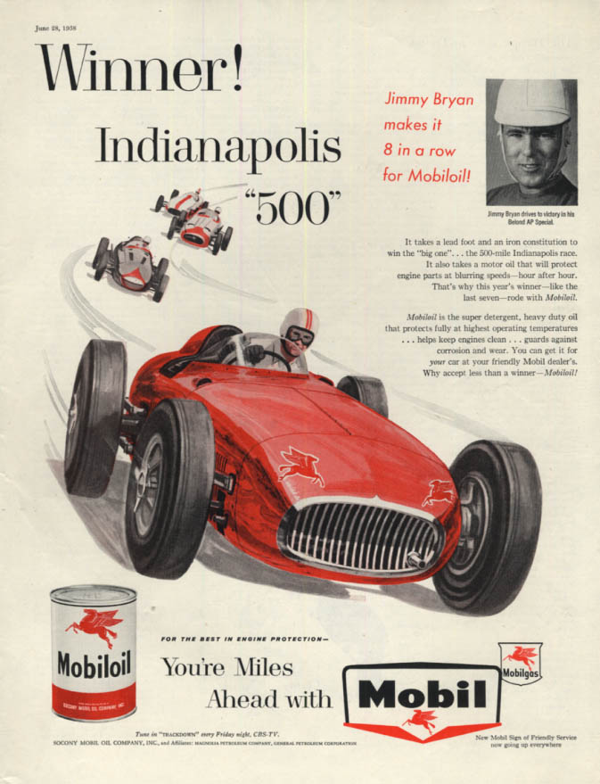 Indianapolis 500 winner Jimmy Bryan makes it 8 in a row for Mobiloil ad 1958 SEP