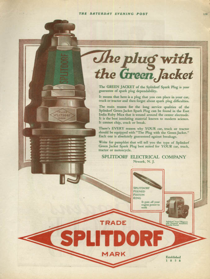 The spark plug with the Green Jacket - Splitdorf Electrical ad 1920 SEP
