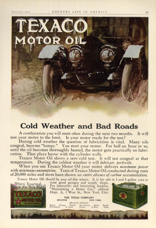 Cold Weather & Bad Roads - Texaco Motor Oil ad 1913