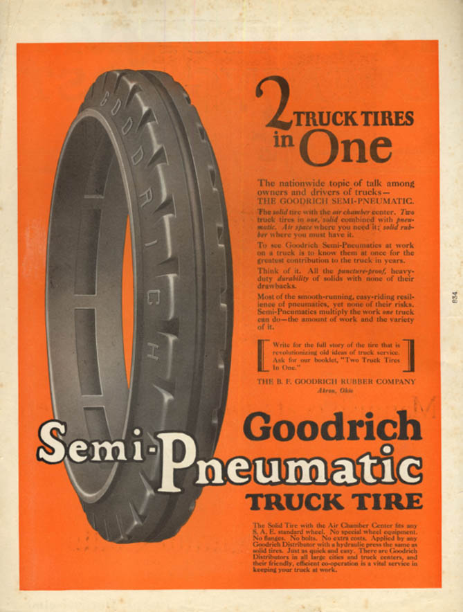 2 truck tires in one Goodrich Semi-Pneumatic Truck Tire ad 1922 SEP