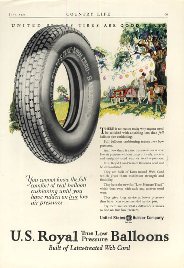 Image for Know full comfort of real balloon cushioning tires U S Royal Balloons ad 1925