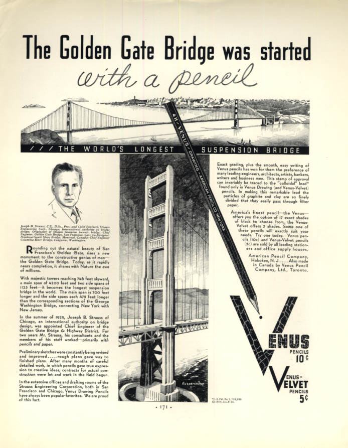 Image for The Golden Gate Bridge was started with a pencil Venus Pencils ad 1934