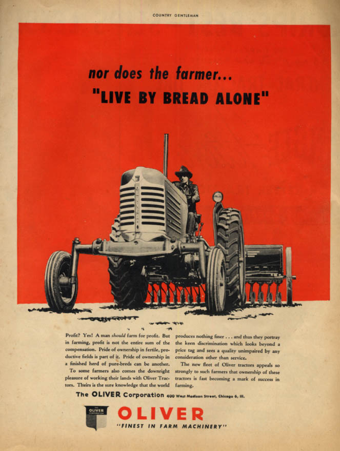 Image for Nor does the farmer live by bread alone Oliver Tractor ad 1948 CG