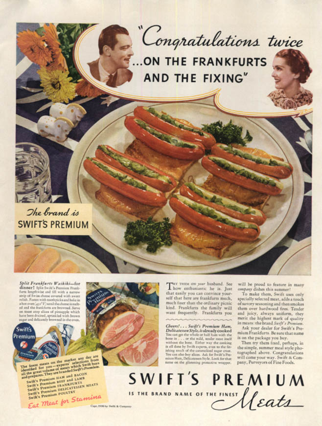 Image for Congratulations twice on the frankfurts Swift Premium Hot Dogs ad 1936