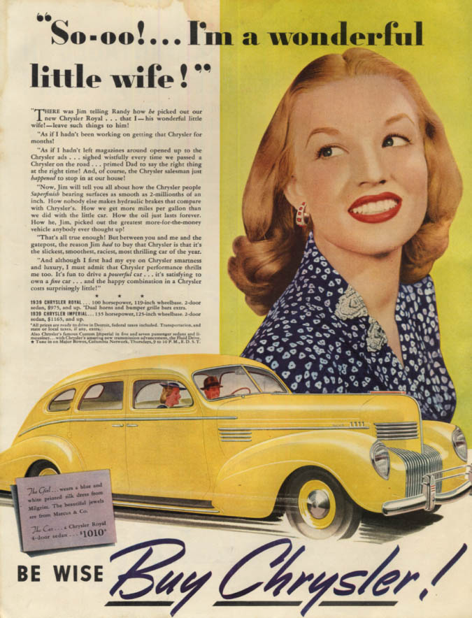 Image for So-oo! I'm a womderful little wife! Chrysler Royal ad 1939 LHJ