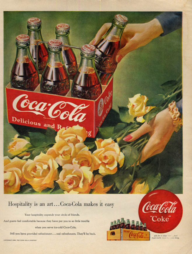 Image for Hospitality is an art Coca-Cola makes it easy ad 1950 McC six pack