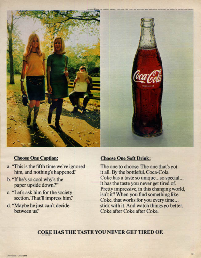 Image for Choose One Caption: Choose One Soft Drink - Coca-Cola ad 1968 17