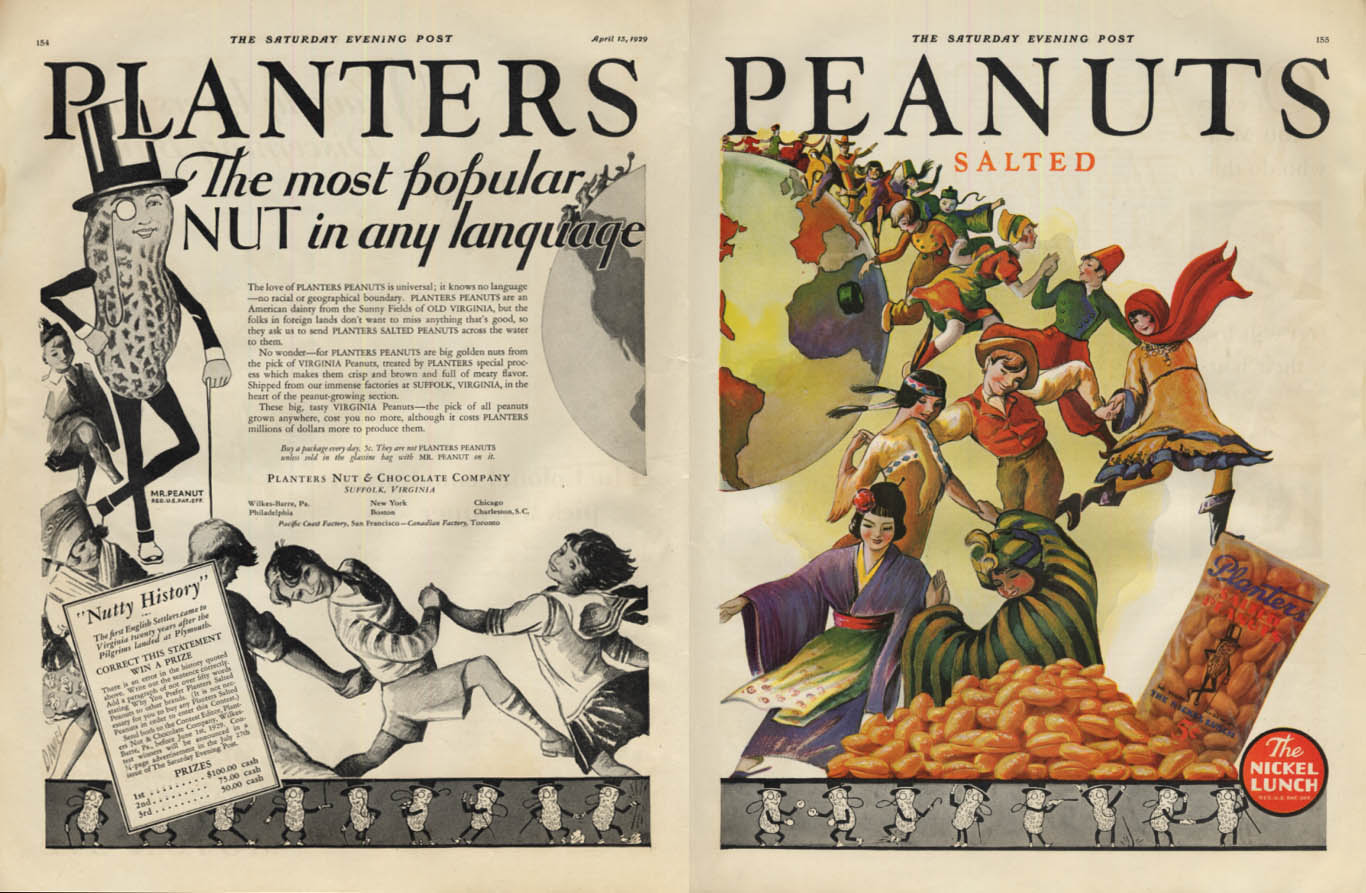 Image for Most popular nut in any language Planters Peanuts ad 1929 SEP