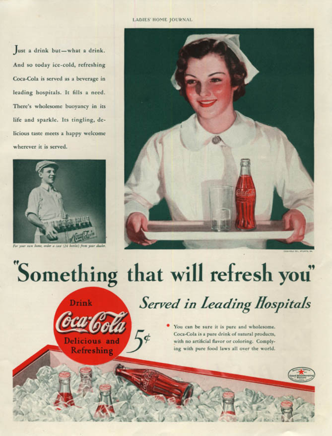 Image for Something that will refresh you served in horpitals Coca-Cola ad 1934 LHJ nurse