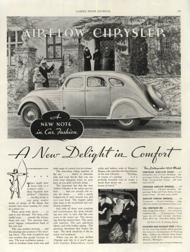 Image for A New Delight in Comfort - Chrysler Airflow ad 1934 LHJ