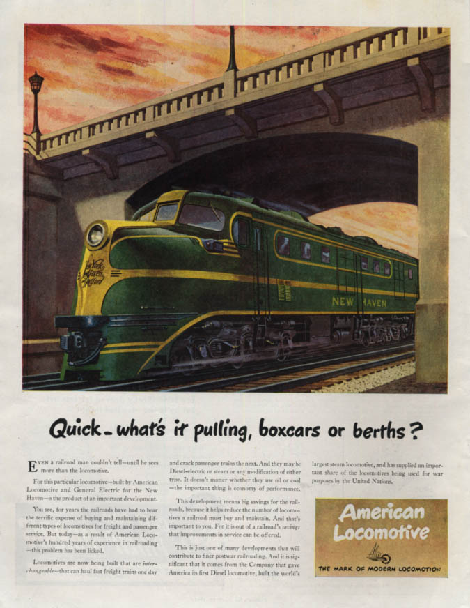 Image for Quick what's it pulling? American Locomotive NY NH & Hartford diesel ad 1945