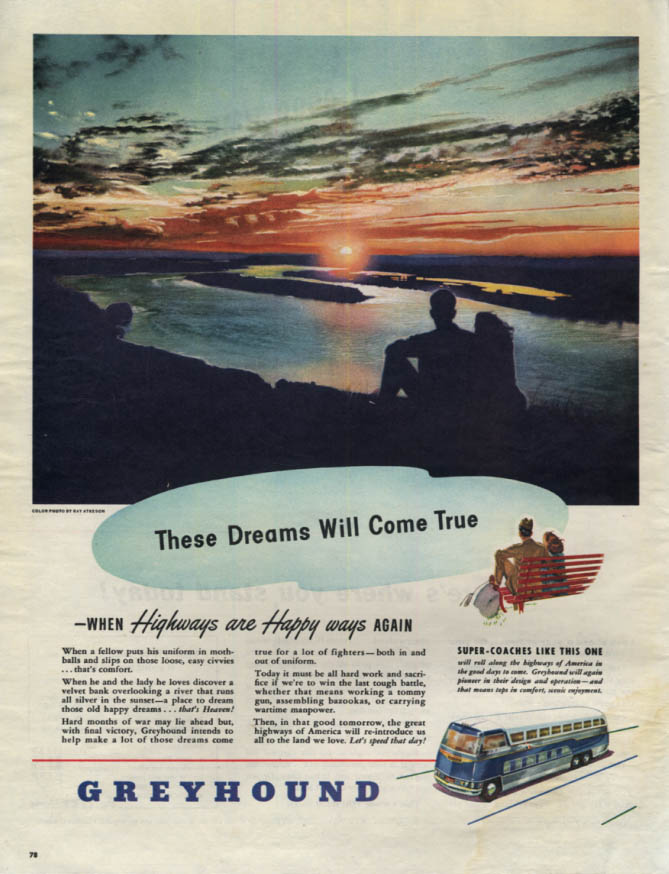 Image for These Dreams Will Come True Greyhound Bus ad 1945 Col