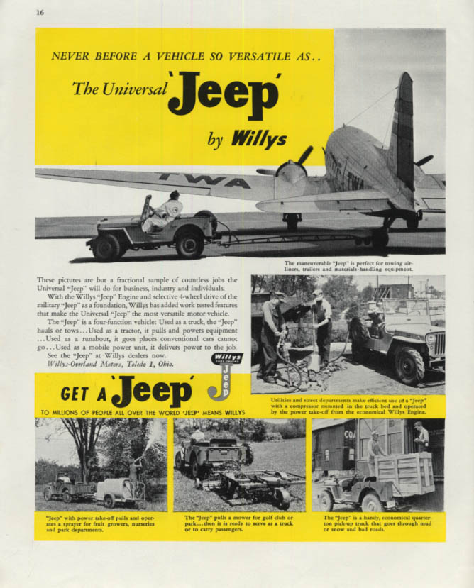 Image for Never before a vehicle so versatile as The Universal Jeep by Willys ad 1946 F