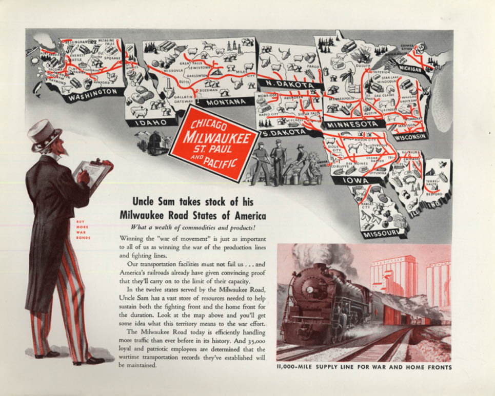 Image for Uncle Sam takes stock of his Milwaukee Road States of America ad 1943 F