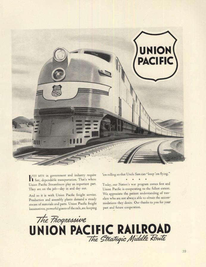 Image for Key men in government require Union Pacific Railroad ad 1942 F