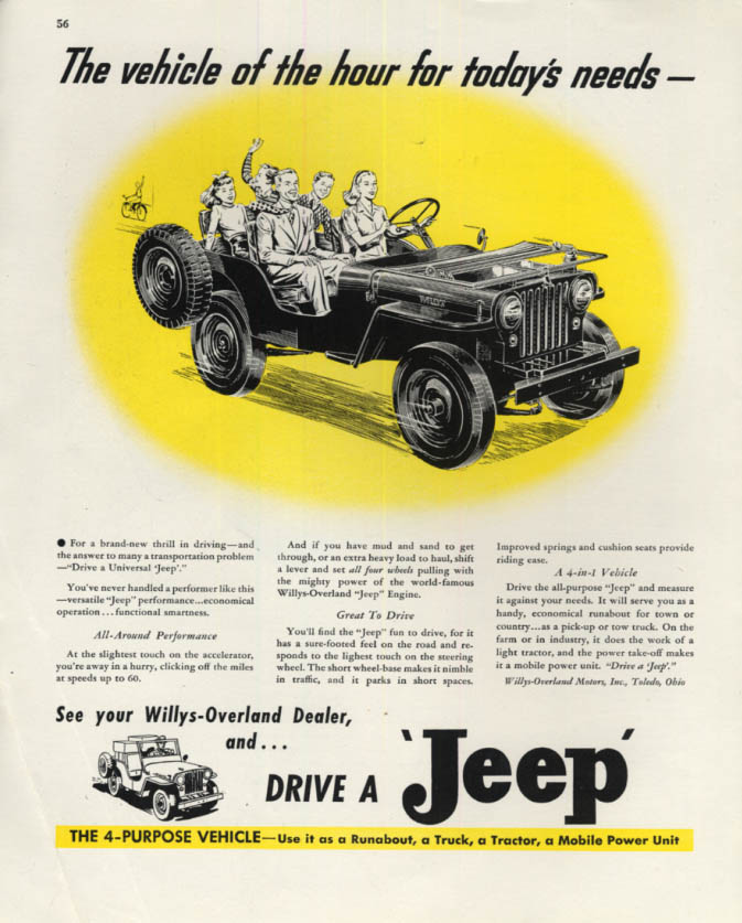 Image for The vehicle of the hour for today's needs Drive a Jeep ad 1946 F