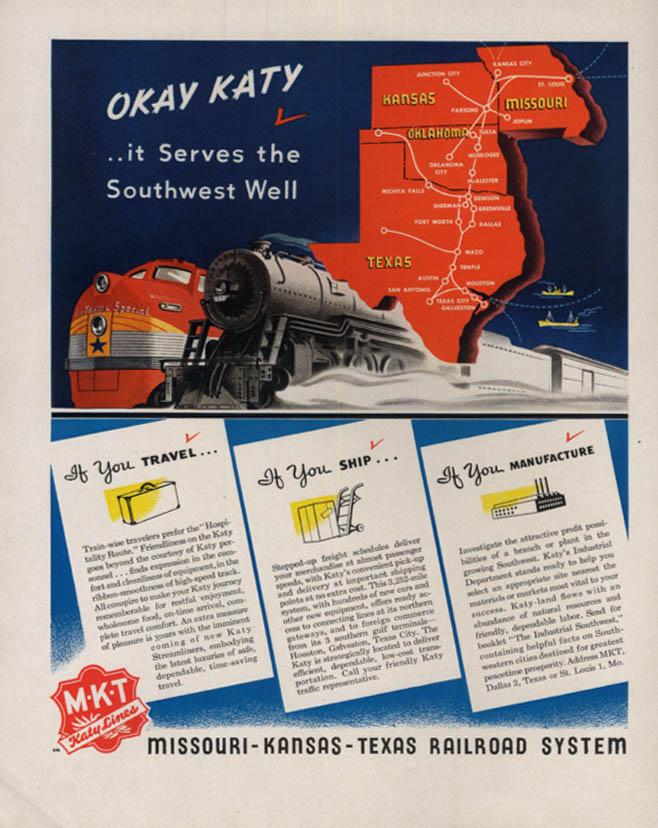 Image for KATY Serves the Southwest Well - Missoutr-Kansas-Texas Railroad ad 1946 F