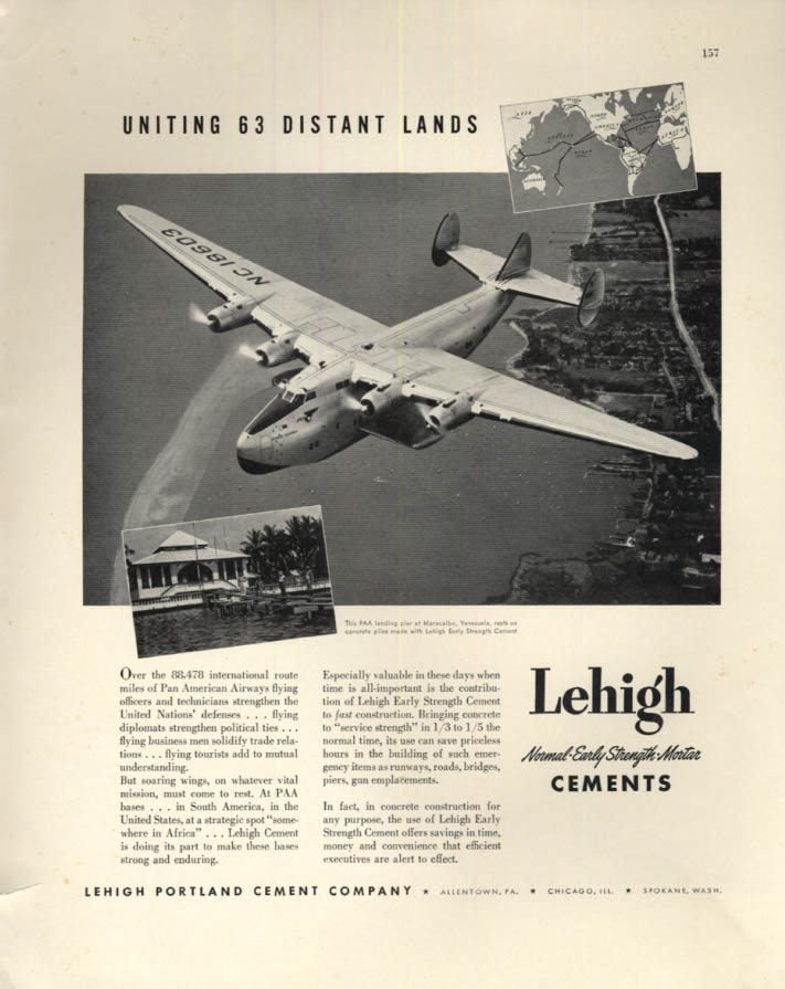 Image for Uniting 63 Distant Lands - Pan American Boeing 314 Clipper Lehigh Cement ad 1942